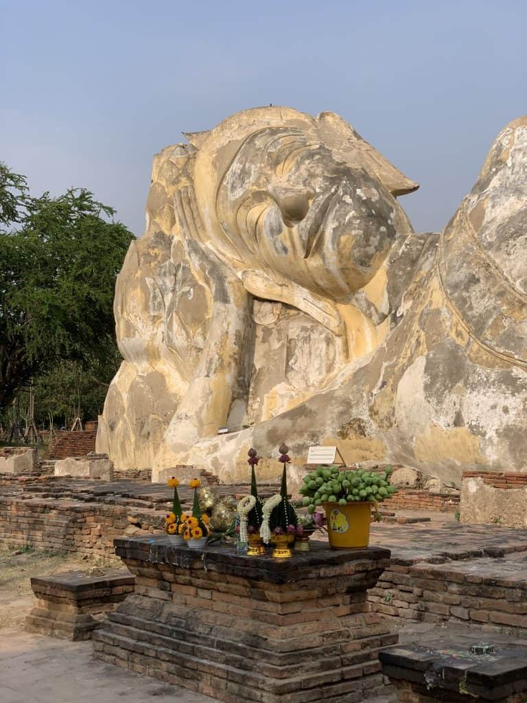 Close up of reclining Buddha statue smiling face