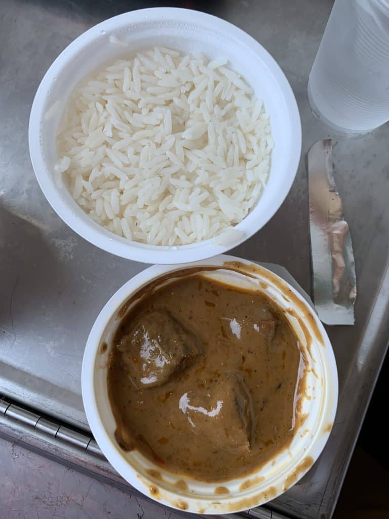 curry and rice served on the train
