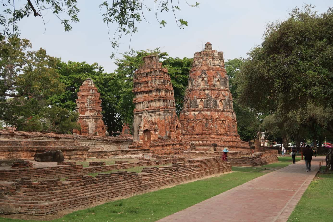 temple ruins and leaning stupas
