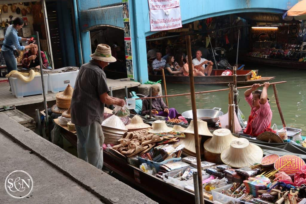 Bucket commerce! Touring the Damnoen Saduak Floating Market is one item on both our bucket lists! Come along as we explore the boats, vendors, foods & sights along the way.