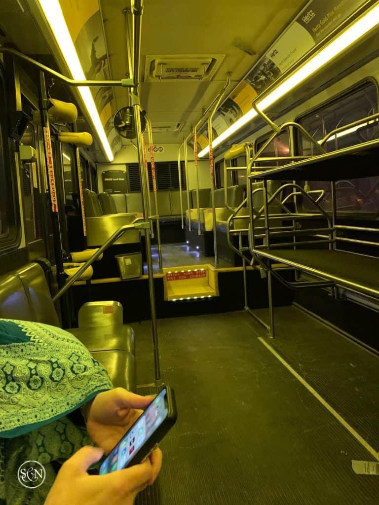 Empty Rental Car Bus