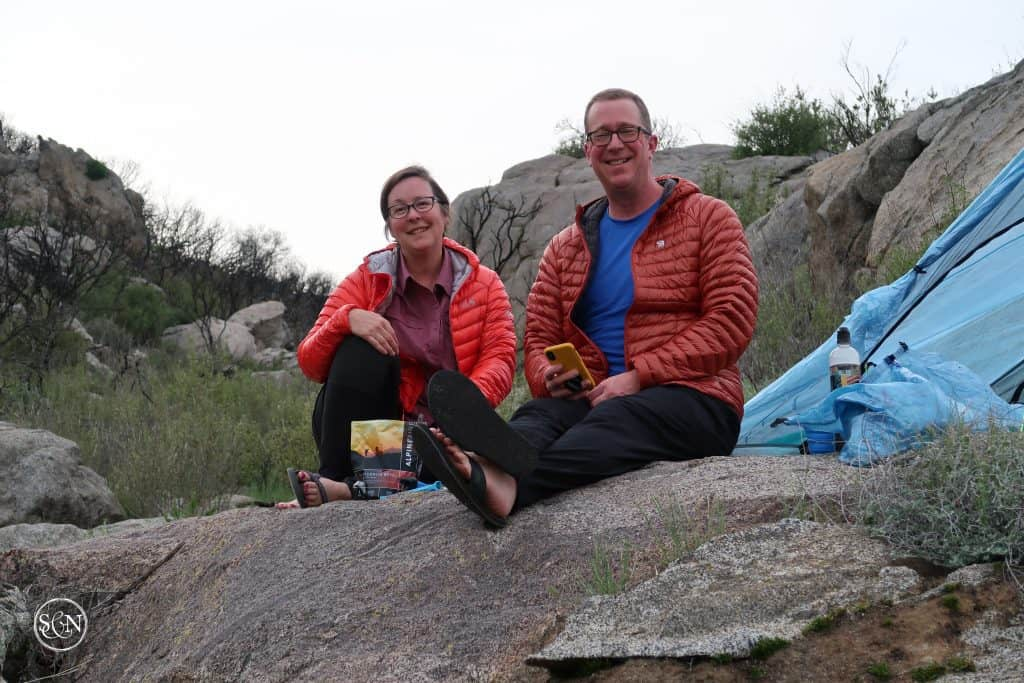 Sitting on a rock at the end of day one we ponder what we've gotten ourselves into with our PCT trek.