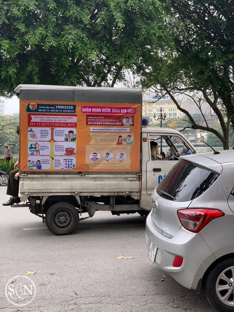 Corona Virus: Public Health Announcement Truck in Hanoi